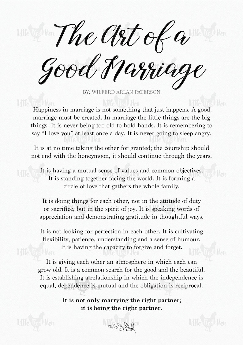 The Art of a Good Marriage Poem + Personalized Frame, Personalized Wedding,  Unique Bridal Shower Gift, Engagement, First Anniversary