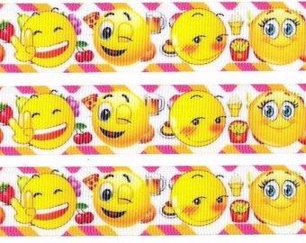 Bows or cake 1 meter emoji ribbon 25mm Grosgrain Ribbon for card Making