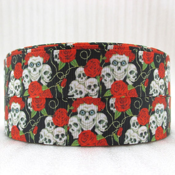 sugar skull ribbon grosgrain white flowers 1 inch wide 25mm