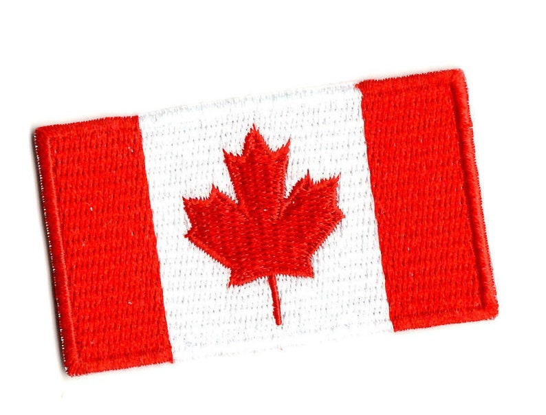 FLAG PATCH PATCHES CANADA CANADIAN for BACKPACK IRON ON EMBROIDERED MEDIUM SIZE
