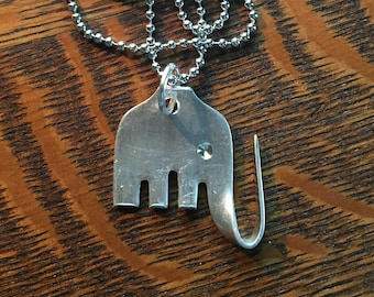 "Upcycled vintage, Hand shaped Elephant Fork Necklace 30"" chain"