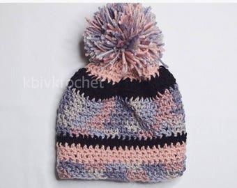 Pink Pallet Jumbo Puffball Crochet Beanie