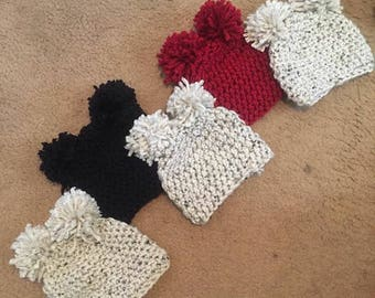 Chunky Puffball Crochet Beanie