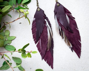Long Wine Red Leather Feather Earrings, Natural Leather Earrings, Lightweight dangle earrings, Boho Earrings, Purple Dangle Feather Earrings