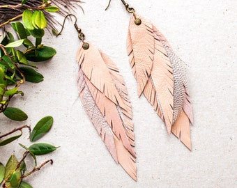 Beige Leather Feather Earrings Pastel Leather Accessories Natural Leather Boho Jewelry Boho Dangle Drop Earrings Gift idea for friend