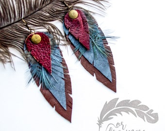 Garnet red Feather Earrings , Leather Feather Earrings, Genuine Natural Leather Feather Earrings, Beautiful Earrings, For dreamers Earrings