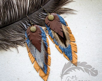Brown  Earrings  Feather Earrings Leather Feather Long Earrings Boho Earrings Boho Jewelry Handmade Leather Jewelry FD004