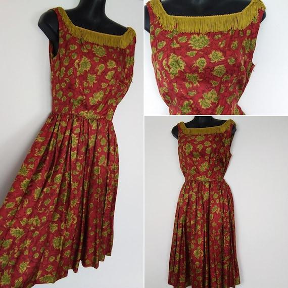 1950s red satin fringe dress
