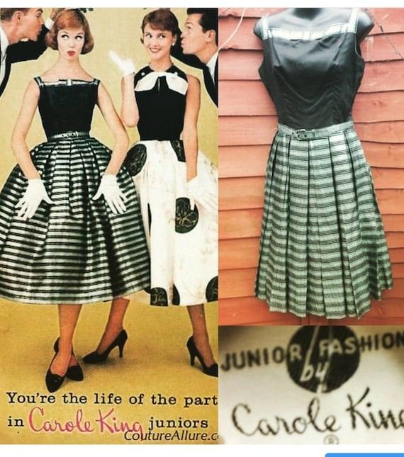 1950s Carole King metallic green dress