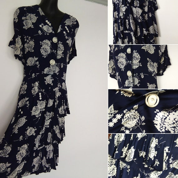 1940s Navy and white floral dress