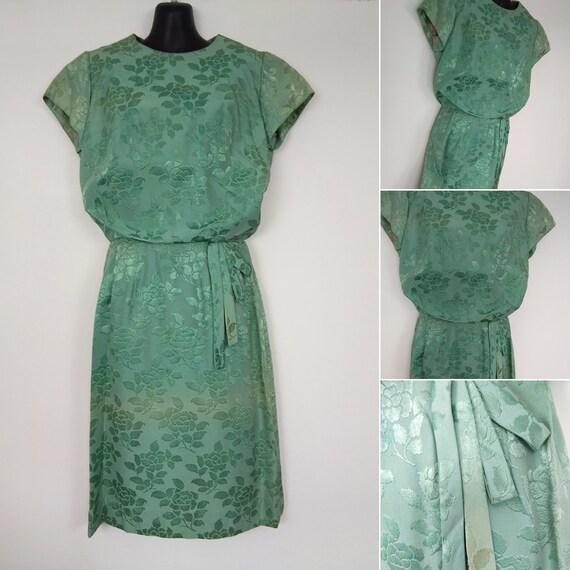 1950s green two tone dress