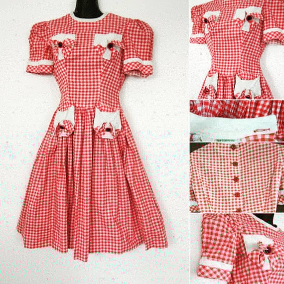 1940s Red gingham dress