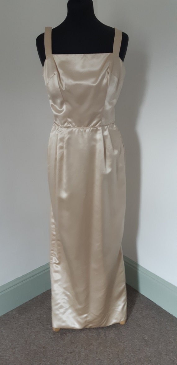 1950s Gold satin long gown