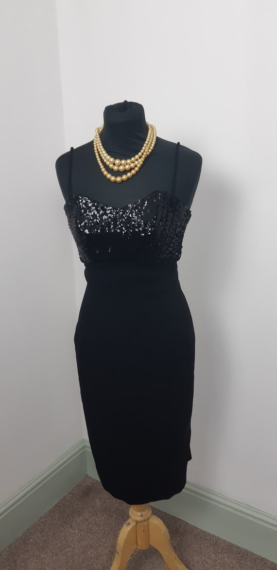 1950s Sequinned little black dress