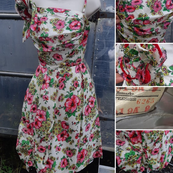 1950s pink rose party dress