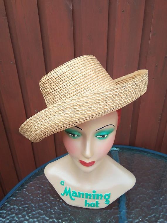 1940s /50s straw Gondola sun hat