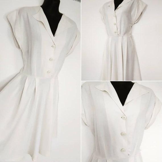 1940s white swing dress