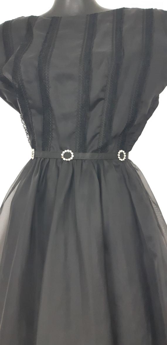 1950s Black chiffon cocktail dress - image 6