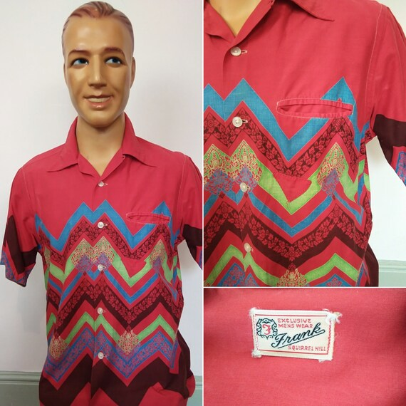 1950s red abstract print shirt