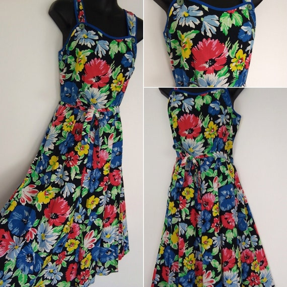 1940s floral novelty print sundress