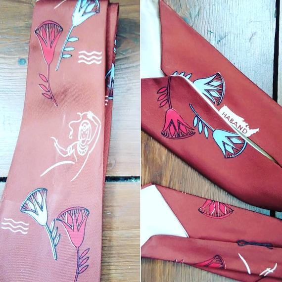 1940s novelty lady print tie