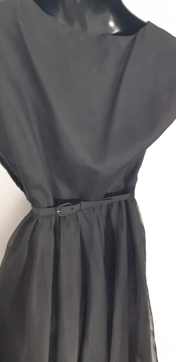 1950s Black chiffon cocktail dress - image 2