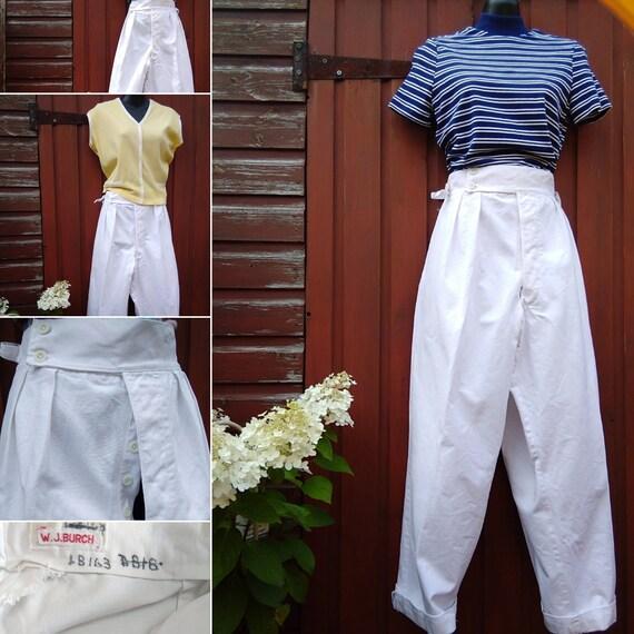 1940s white canvas Sailors trousers