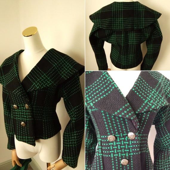 1950s green & black shawl collar jacket
