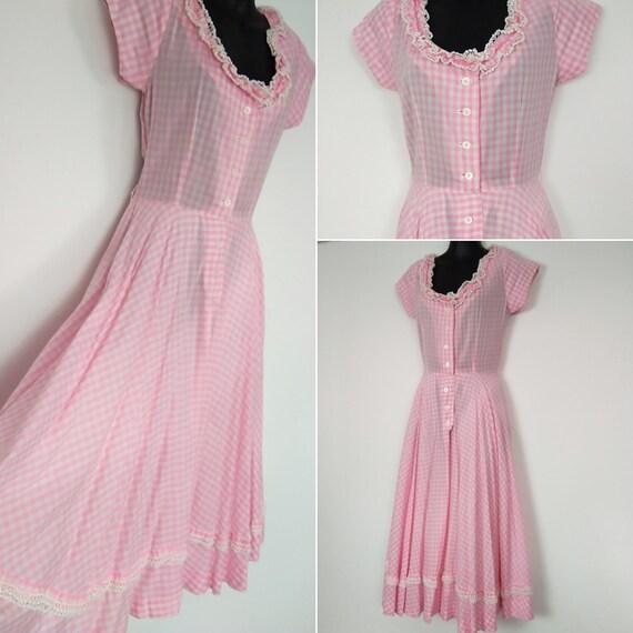 1950s pink gingham dress