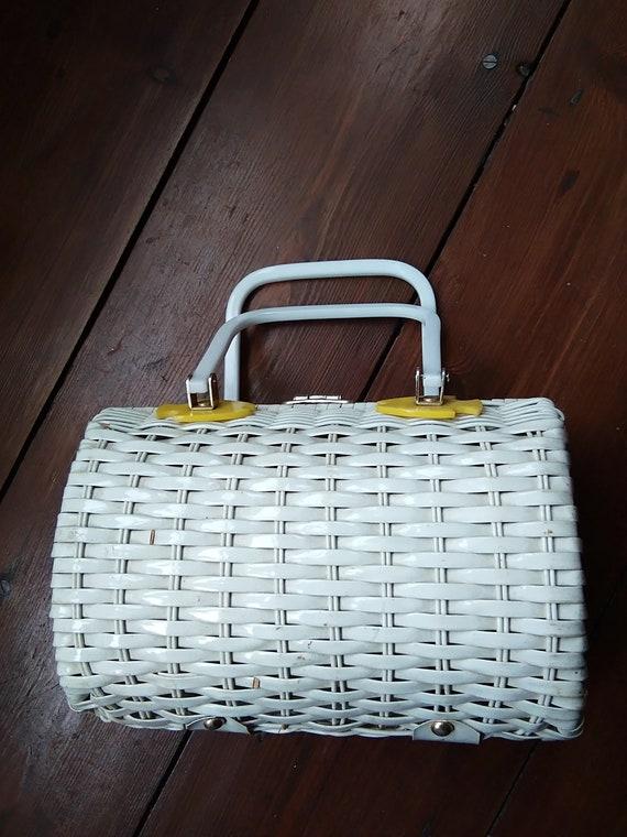 1950s white wicker bag