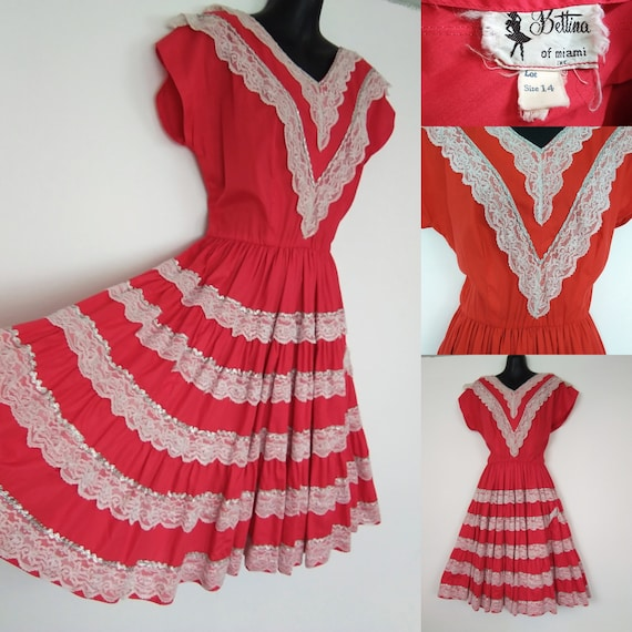 1950s red patio dress