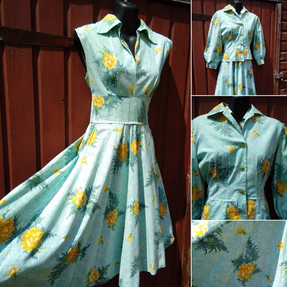 1940s novelty print dress and jacket
