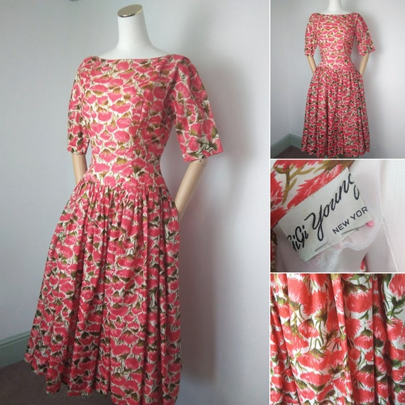 1950s GiGi Young floral print dress