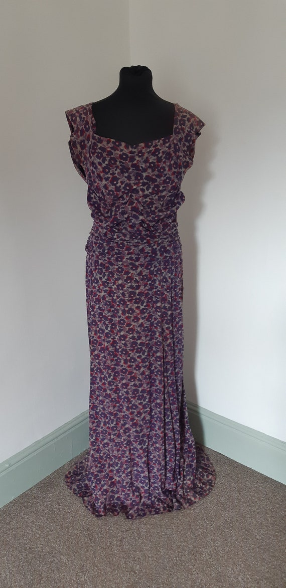 1930s/40s purple silk  dress