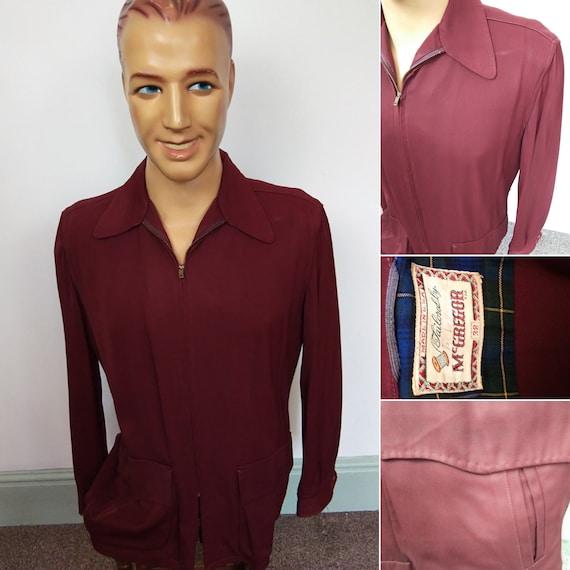 1940s Gabardine burgundy jacket