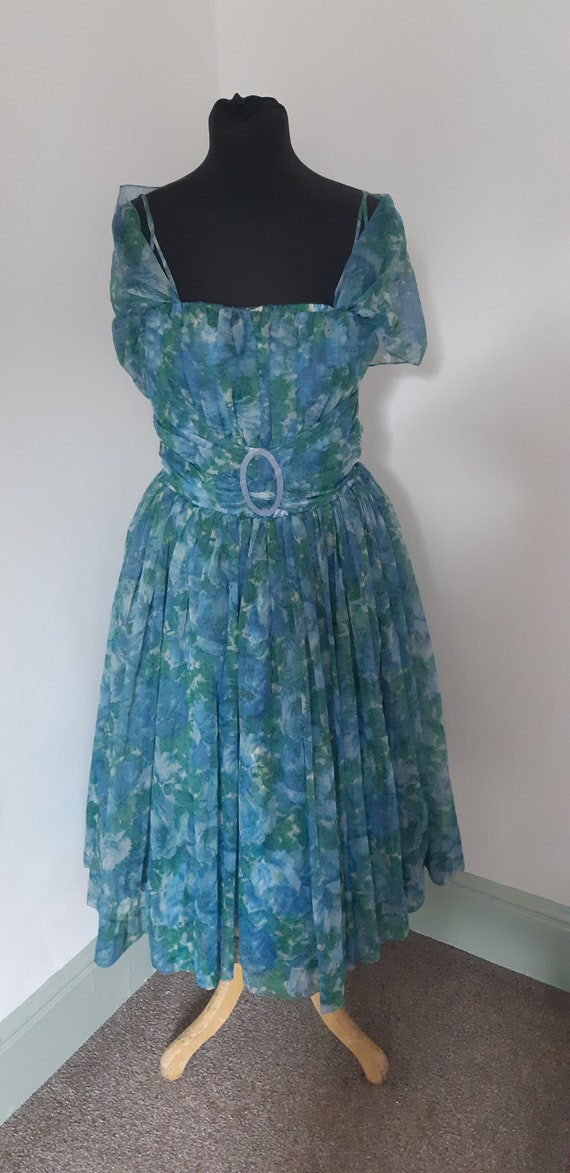 1950s blue chiffon prom dress