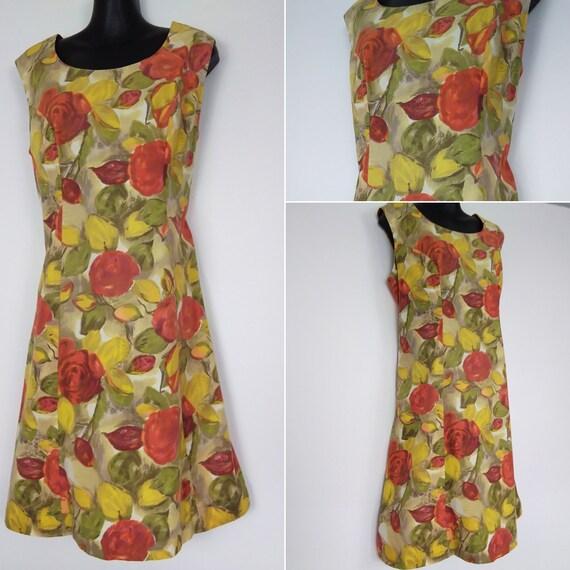 1950s fruit print dress