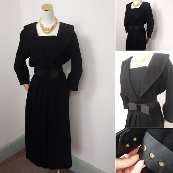 1950s black Leslie Fay dress