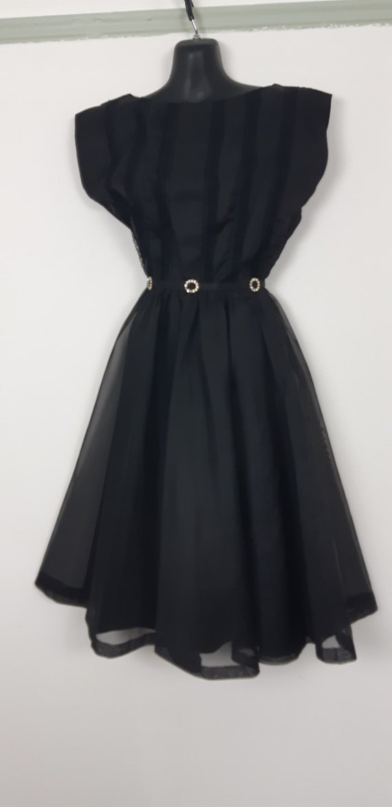 1950s Black chiffon cocktail dress