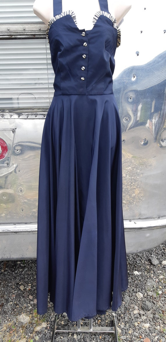 1940s navy halterneck evening dress