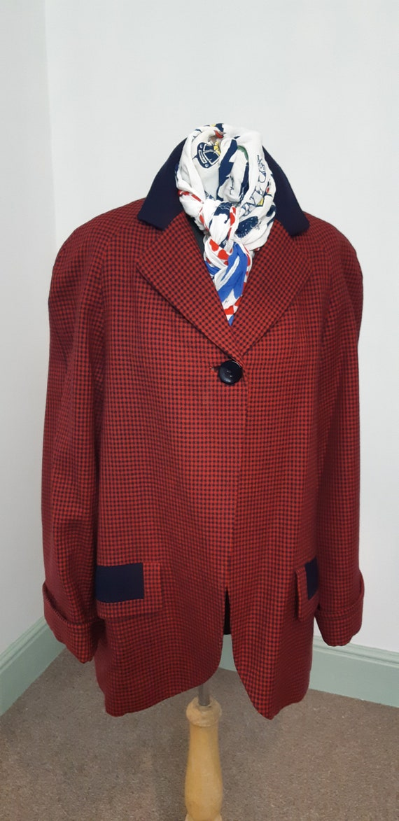 1940s Red and Blue dogtooth jacket