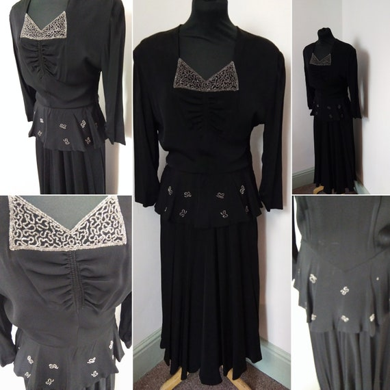 1940s black beaded  rayon dress
