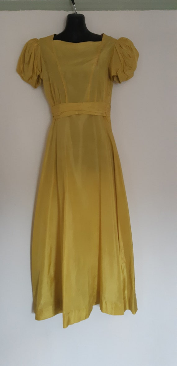 1940s Chartreuse taffeta long gown