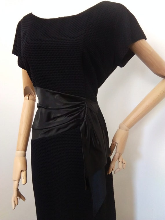 1950s black cocktail dress - image 3