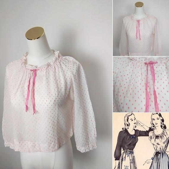 1940s lawn cotton peasant blouse