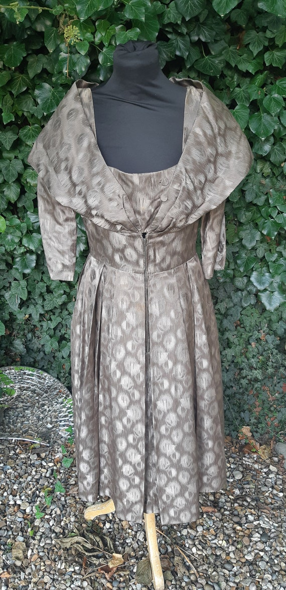 1950s satin brocade shawl collar dress