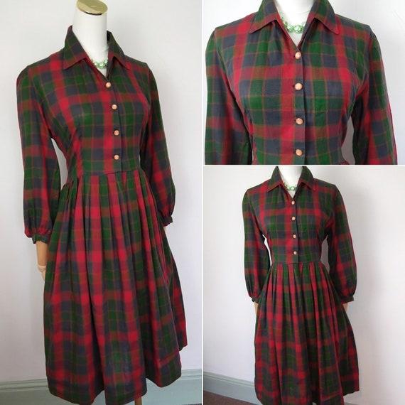 1950s tartan shirtwaister dress