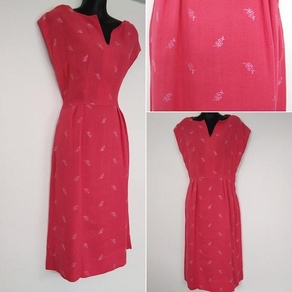 1950s coral wiggle dress