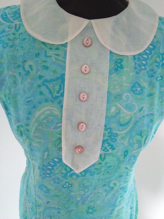1960s blue Peter pan collar mini dress - image 2