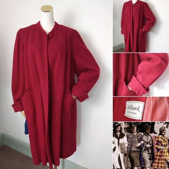 1940s rose red swing coat